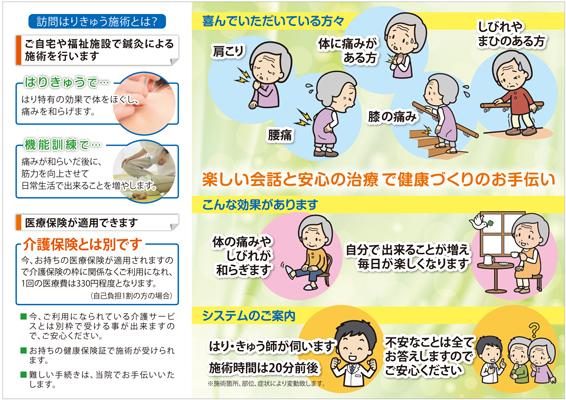 鍼灸接骨院の無料施術体験パンフレットデザイン(裏)