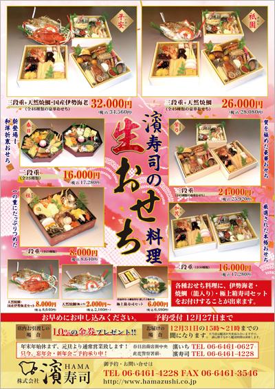 お寿司屋さんのおせち料理販売促進チラシ