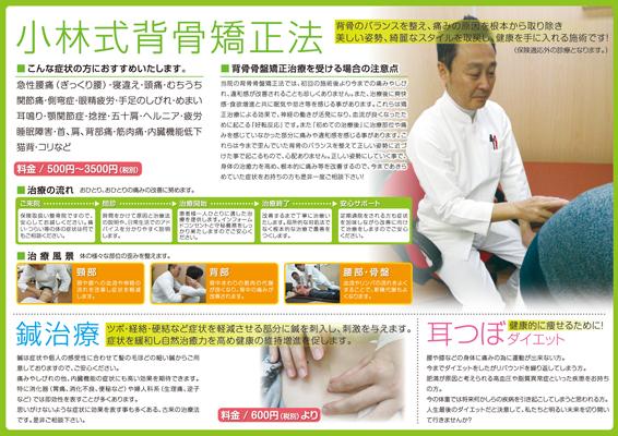 鍼灸整骨院のパンフレットデザイン(裏)