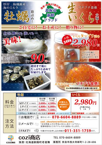 牡蠣といくらの通信販売のチラシデザイン