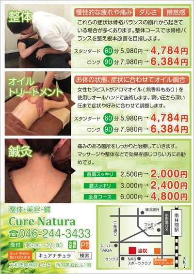 鍼灸接骨の整体・美容・鍼に関するチラシ(裏)