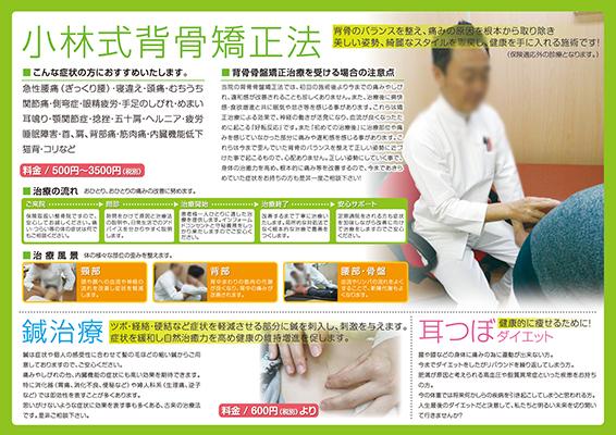 鍼灸整骨院の三つ折りパンフレット